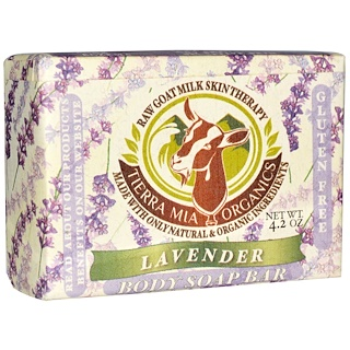 Tierra Mia Organics, Raw Goat Milk Skin Therapy, Body Soap Bar, Lavender, 4.2 oz