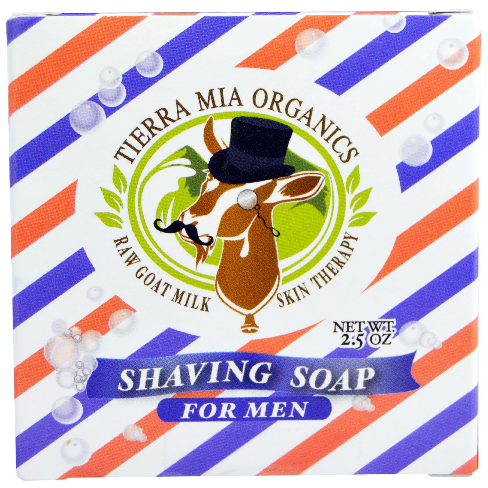 Tierra Mia Organics, Средства для ухода за кожей на основе сырого козьего молока, мыло для бритья для мужчин, 2,5 унции