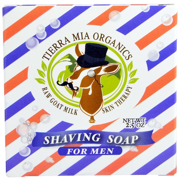 Tierra Mia Organics, Raw Goat Milk Skin Therapy, Shaving Soap For Men, 2.5 oz