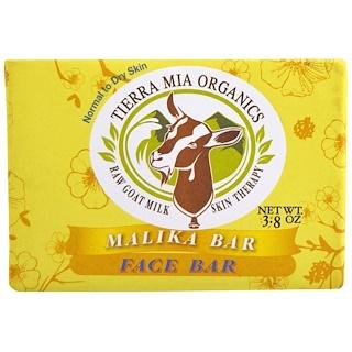 Tierra Mia Organics, Terapia de leche de cabra para la piel ,cruda, barra para el rostro, Malika, 3,8 onzas