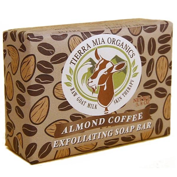 Tierra Mia Organics, Terapia corporal con leche cruda de cabra, barra de jabón exfoliante, café almendrado - 3,8 oz (Discontinued Item)