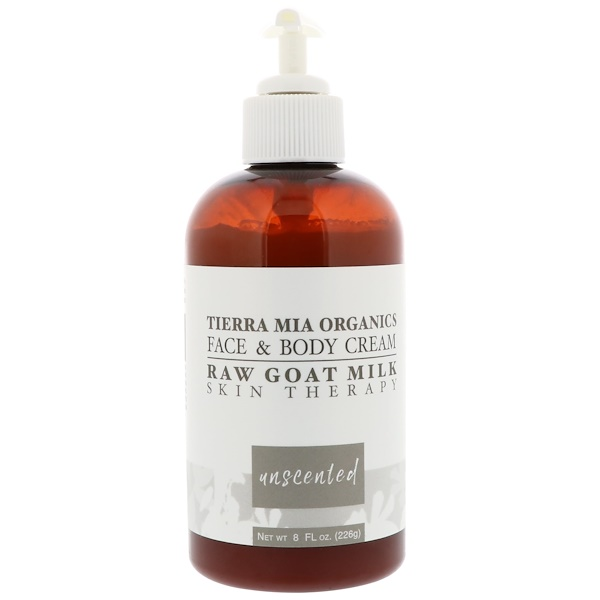 Tierra Mia Organics, Raw Goat Milk Skin Therapy, Face & Body Cream, Unscented, 8 fl oz (226 g) (Discontinued Item)