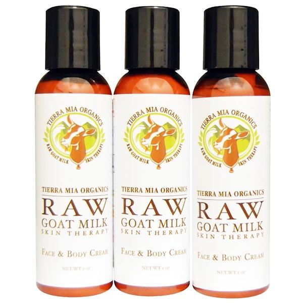 Tierra Mia Organics, Raw Goat Milk Skin Therapy,  Face & Body Cream, Citrus + Coconut + Emily, 3 Bottles, 2 oz (56 g) Each (Discontinued Item)
