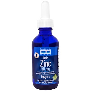 Trace Minerals Research, Liquimins, zink iónico, 50 mg, 59 ml (2 fl oz)