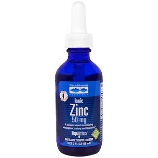 Trace Minerals Research, リクイミンス(Liquimins)、イオン化亜鉛、50 mg、2 fl oz (59 ml)