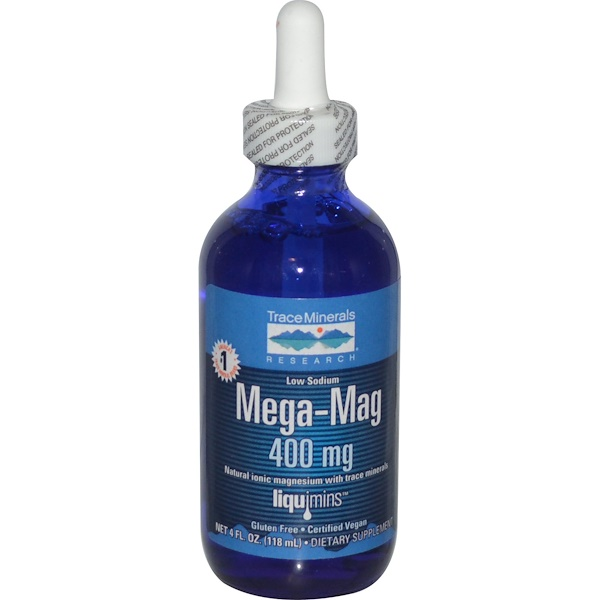 Trace Minerals Research, Mega-Mag, magnesio iónico natural con minerales, 400 mg, 118 ml (4 fl oz)