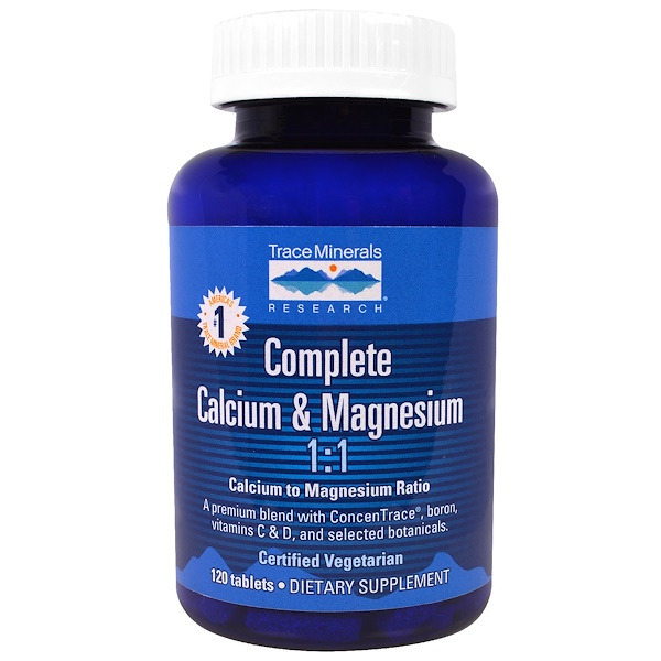 Trace Minerals Research, Complete Calcium & Magnesium, 120 Tablets