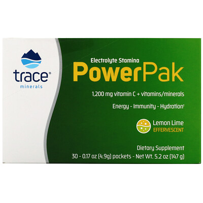 Trace Minerals Research Electrolyte Stamina PowerPak, Lemon Lime, 30 Packets, 0.17 oz (4.9 g) Each
