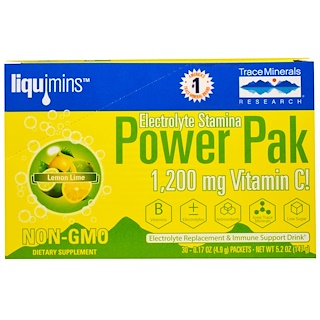 Trace Minerals Research, Electrolyte Stamina, Power Pak, 1200 mg, Lemon Lime, 30 Packets, 0.17 oz (4.9 g) Each
