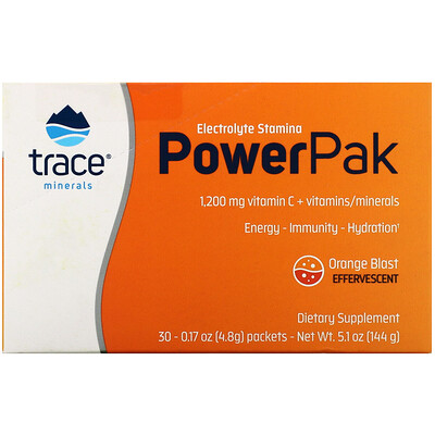 Trace Minerals Research Electrolyte Stamina PowerPak, Orange Blast, 30 Packets, 0.17 oz (4.8 g) Each