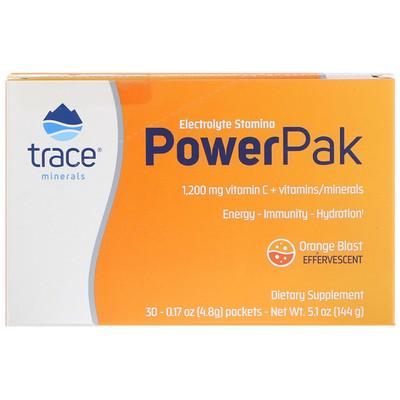 Купить Электролиты для выносливости и силы с сочным апельсиновым вкусом, 0.23 унции, (6.5 г), 30 пакета