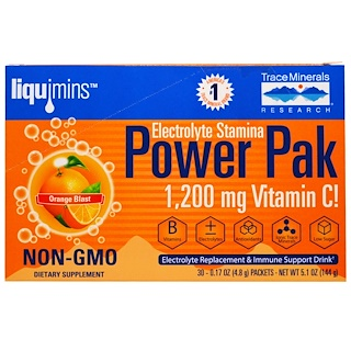 Trace Minerals Research, Electrolyte Stamina, Power Pak, 1200 mg, Orange Blast, 30 Packets, 0.17 oz (4.8 g) Each
