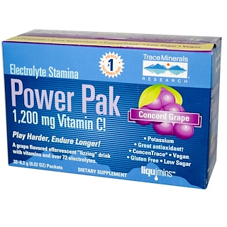 Trace Minerals Research, Electrolyte Stamina, Power Pak, 1200 mg, Concord Grape, 32 Packets, 0.22 oz (6.2 g) Each