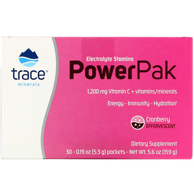Trace Minerals Research Electrolyte Stamina PowerPak, Cranberry, 30 Packets, 0.19 oz (5.3 g) Each