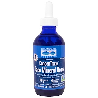 Trace Minerals Research, コンセントレース(ConcenTrace) トレースミネラルドロップス、4 fl oz (118 ml)、ドロッパーボトル