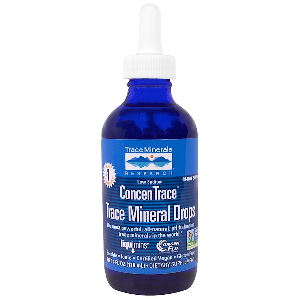Trace Minerals Research, ConcenTrace, Trace Mineral Drops, Dropper Bottle, 4 fl oz (118 ml)