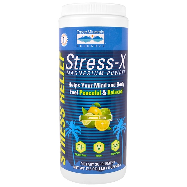 Trace Minerals Research, Стресс-X, магниевый порошок, лимон-лайм, 17,6 унций (500 г) (Discontinued Item)