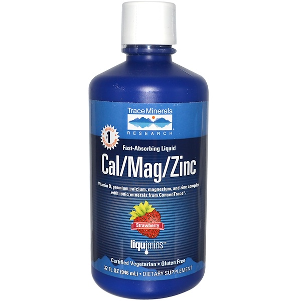 Trace Minerals Research, Fast-Absorbing Liquid, Cal/Mag/Zinc, Strawberry, 32 fl oz (946 ml)
