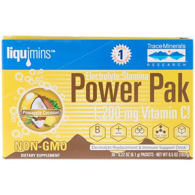 Купить Сила электролитов, универсальный комплекс, ананасовый кокос, 1200 мг, 30 пакетиков, 0, 22 унций (6, 1 г) каждый