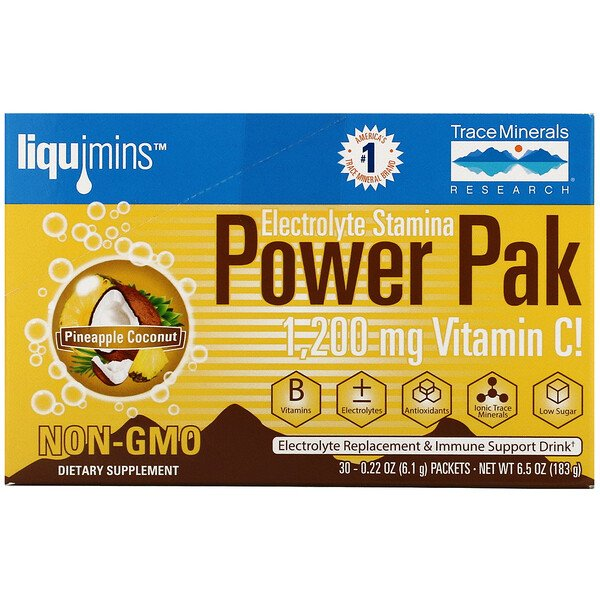 Electrolyte Stamina Power Pak, Pineapple Coconut, 30 Packets, 0.22 oz (6.1 g) Each