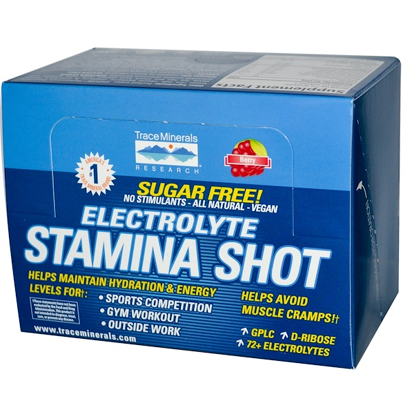 Trace Minerals Research, Electrolyte Stamina Shot, Berry, 12 Pack, 2 fl oz (59 ml) Each (Discontinued Item)
