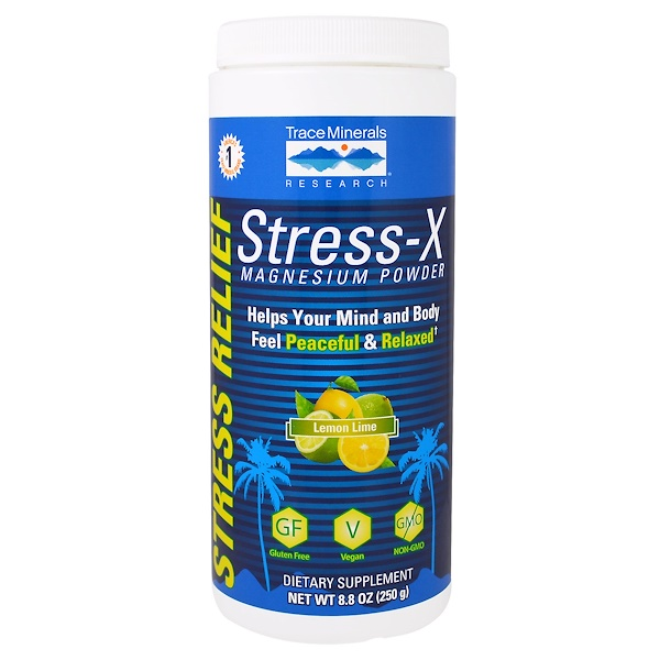 Trace Minerals Research, Stress-X Magnesium Powder, Lemon Lime, 8.8 oz (250 g) (Discontinued Item)