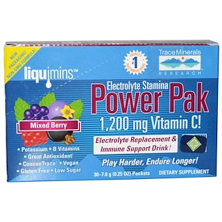 Trace Minerals Research, Electrolyte Stamina Power Pak, Mixed Berry, 1200 mg, 30 Paquetes, 0.25 oz (7.0 g)