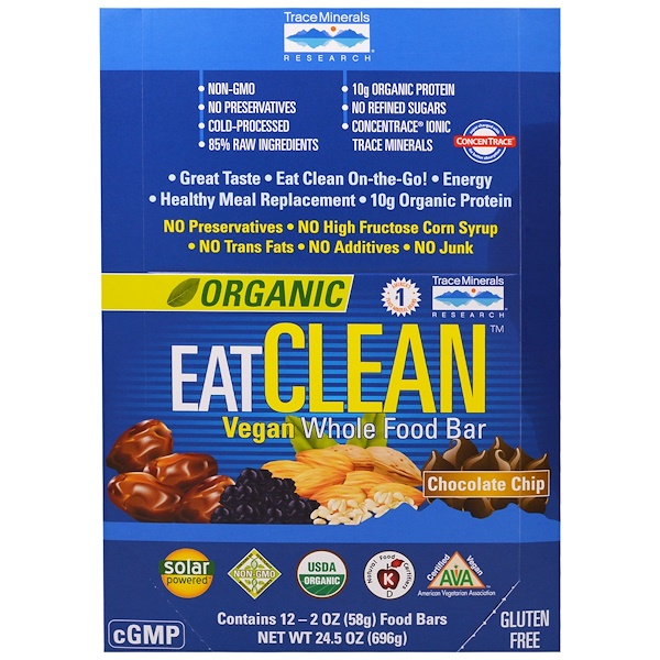 Trace Minerals Research, Organic EatClean Vegan Whole Food Bar, Chocolate Chip, 12 Bars, 2 oz (58 g) Each (Discontinued Item)