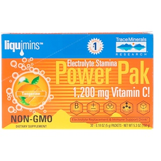 Trace Minerals Research, Electrolyte Stamina, Power Pak, Tangerine, 1200 mg, 30 Packets, 0.18 oz (5.2 g) Each