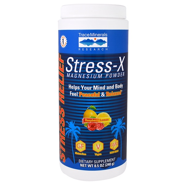 Trace Minerals Research, Stress-X Magnesium Powder, Raspberry Lemon, 8.5 oz (240 g) (Discontinued Item)