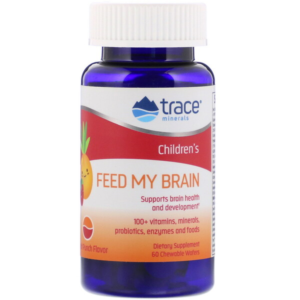Trace Minerals Research, Children's, Feed My Brain, Fruit Punch Flavor, 60 Chewable Wafers