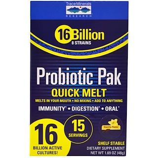 Trace Minerals Research, Пробиотический пакет, быстрое растворение, ваниль, 15 палочек в пакете, 1,69 унции (48 г)