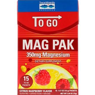 Trace Minerals Research, マグパックゴー、マグネシウムパウダー、シトラスラズベリー味、350 mg、15袋、各0.17 oz (4.8 g)
