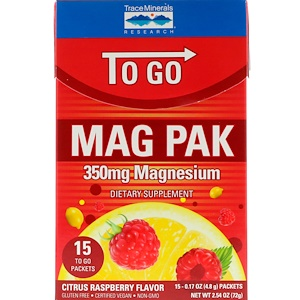 Трасе Минералс Ресерч, Mag Pak To Go, Magnesium Powder, Citrus Raspberry Flavor, 350 mg, 15 Packets, 0.17 oz (4.8 g) Each отзывы