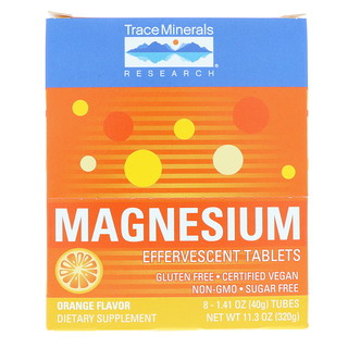 Trace Minerals Research, Magnesium Effervescent Tablets, Orange Flavor, 150 mg, 8 Tubes, 1.41 oz (40 g) Each