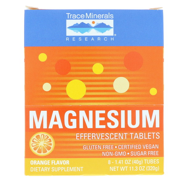 Trace Minerals Research, Magnesium Effervescent Tablets, 150 mg, Orange flavor, 8 Tubes 1.41 oz (40 g) Each (Discontinued Item)