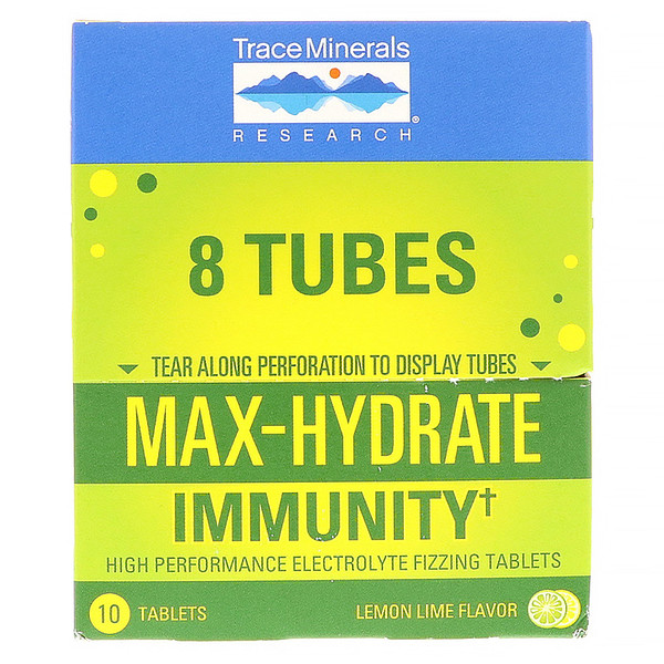 Trace Minerals Research, Max-Hydrate Immunity, Effervescent Tablets, Lemon Lime Flavor, 8 Tubes, 10 Tablets Each (Discontinued Item)