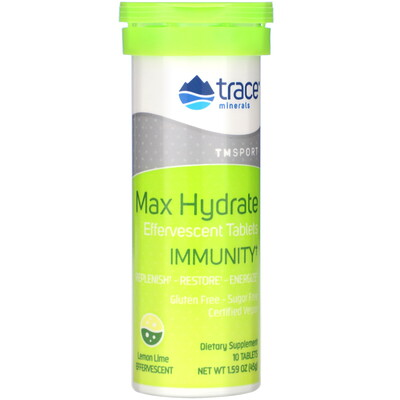 Купить Trace Minerals Research Max Hydrate Immunity, Effervescent Tablets, Lemon Lime, 1.59 oz (45 g)