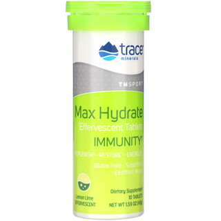 Trace Minerals Research, Max Hydrate Immunity, Effervescent Tablets, Lemon Lime, 1.59 oz (45 g)