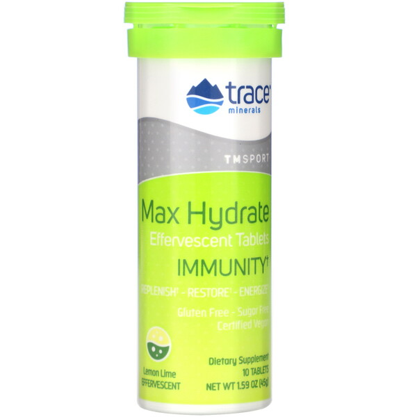 Max Hydrate Immunity, Effervescent Tablets, Lemon Lime, 1.59 oz (45 g)