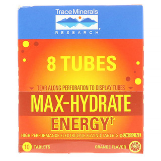 Trace Minerals Research, Max-Hydrate Energy, Effervescent Tablets + Caffeine, Orange Flavor, 8 Tubes, 10 Tablets Each