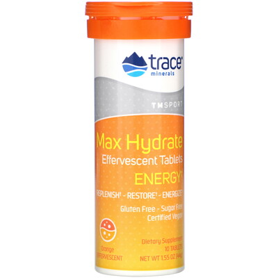Купить Trace Minerals Research Max Hydrate Energy, Effervescent Tablets, Orange, 1.55 oz (44 g)