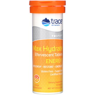 Trace Minerals Research, Max Hydrate Energy, Effervescent Tablets, Orange, 1.55 oz (44 g)