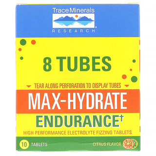 Trace Minerals Research, Max-Hydrate Endurance, Effervescent Tablets, Citrus Flavor, 8 Tubes, 10 Tablets Each