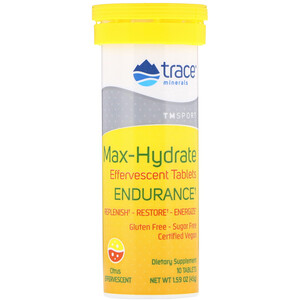 Trace Minerals Research, Max-Hydrate Endurance, Effervescent Tablets, Citrus, 1.59 oz (45 g)