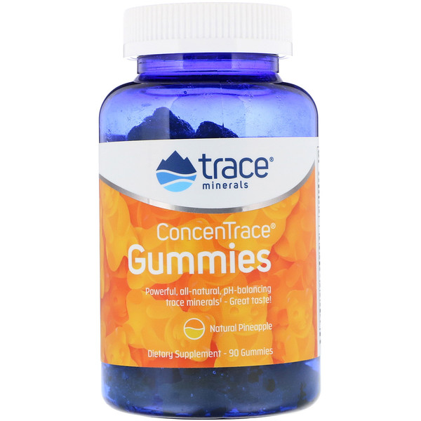 Trace Minerals Research, ConcenTrace, Gummies, Natural Pineapple, 90 Gummies