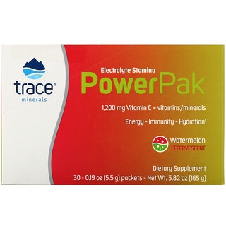 Trace Minerals Research, Electrolyte Stamina PowerPak, Watermelon Effervescent, 30 Packets, 0.19 oz (5.5 g) Each