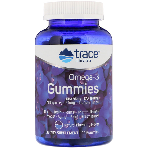 Trace Minerals Research, Omega -3 Gummies, Natural Blueberry, 90 Gummies