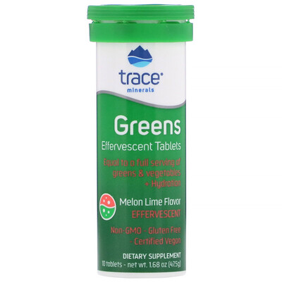 Купить Trace Minerals Research Greens, Effervescent Tablets, Melon Lime Flavor, 10 Tablets