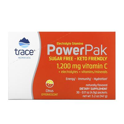 Купить Trace Minerals Research Electrolyte Stamina PowerPak, Sugar Free, Citrus, 30 Packets, 0.17 oz (4.9 g) Each